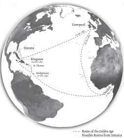 Voyage of the Golden Age and Trade Routes from Jamaica to Cuba